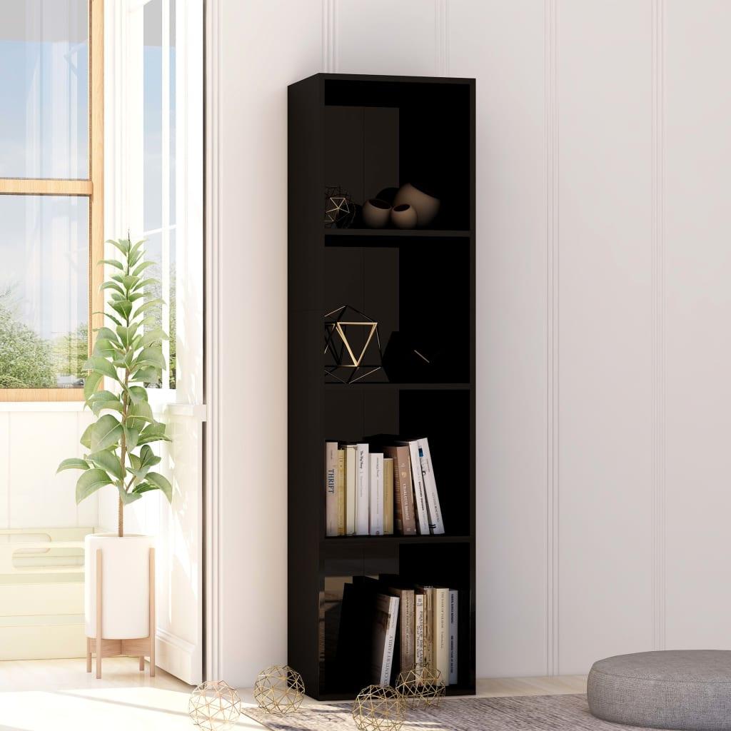 vidaXL Bibliotecă, negru extralucios, 40 x 30 x 151,5 cm, PAL poza vidaxl.ro