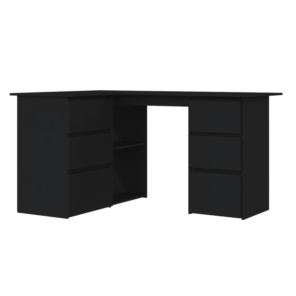 vidaXL Γραφείο Γωνιακό Μαύρο 145 x 100 x 76 εκ. από Μοριοσανίδα