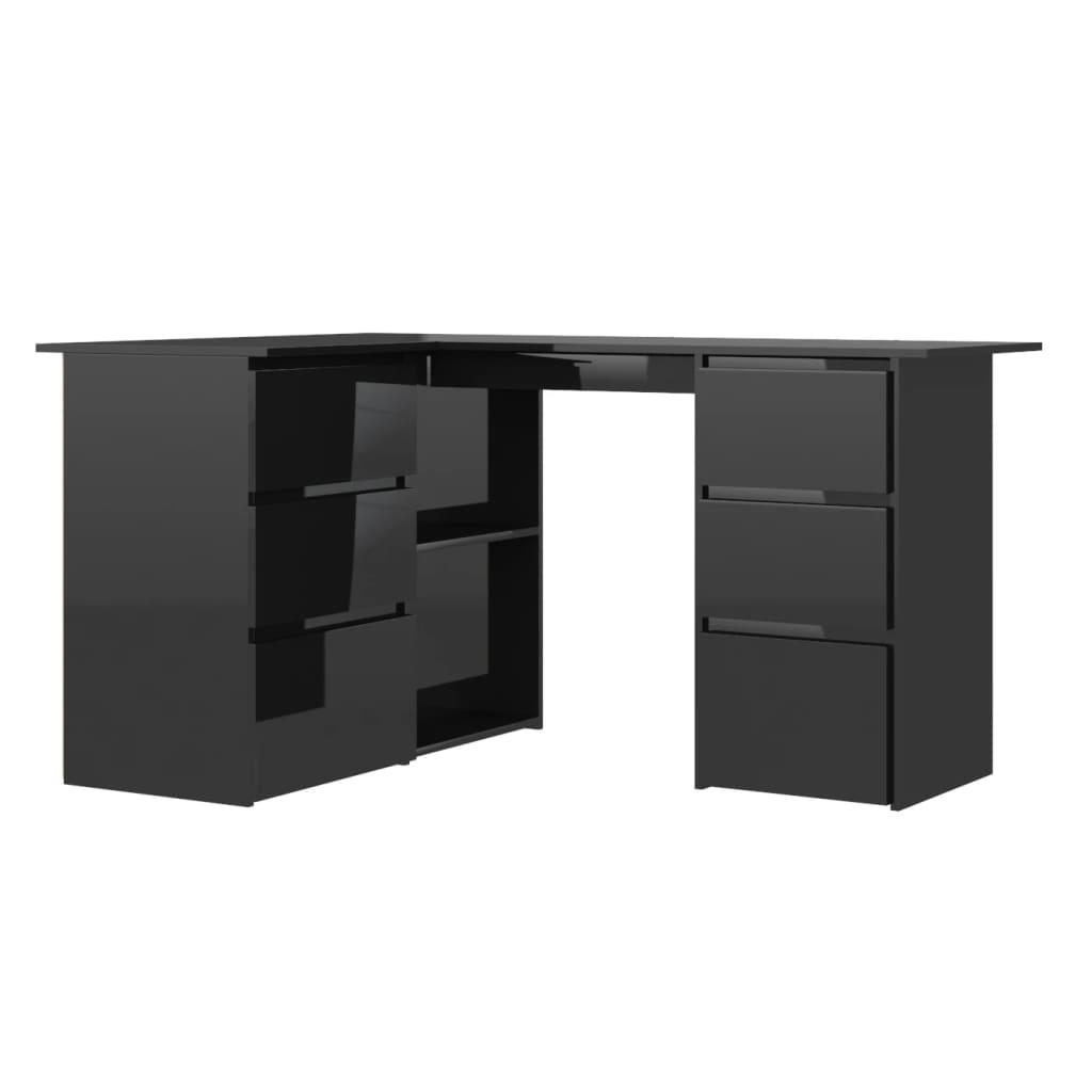 vidaXL Γραφείο Γωνιακό Γυαλιστερό Μαύρο 145x100x76 εκ. από Μοριοσανίδα