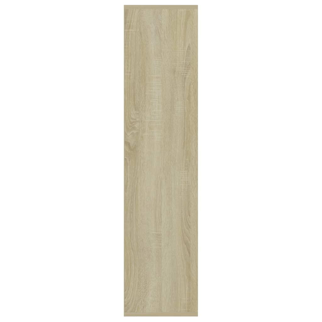 Boekenkast 50x25x106 cm spaanplaat wit en sonoma eikenkleurig
