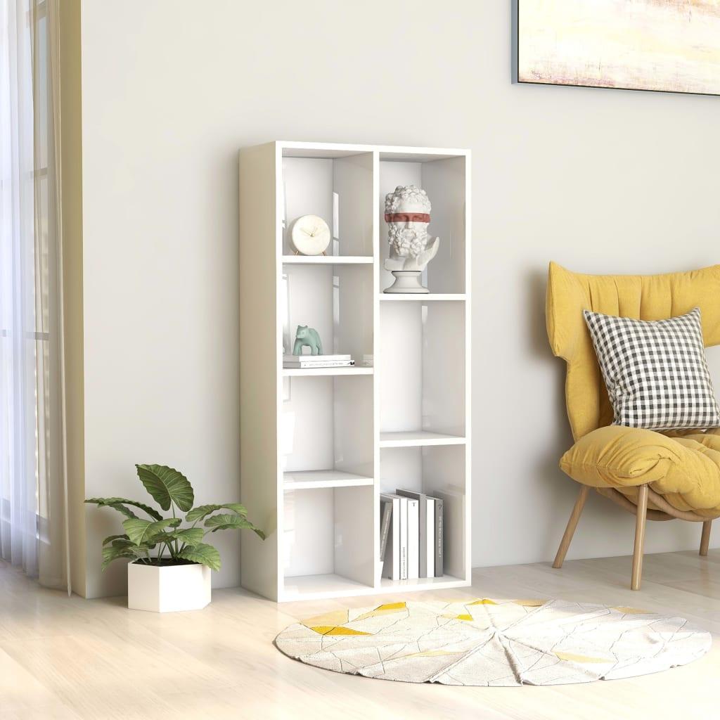 Knihovna bílá s vysokým leskem 50 x 25 x 106 cm dřevotříska
