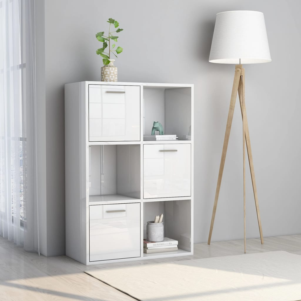 vidaXL Dulap de depozitare, alb extralucios, 60 x 29,5 x 90 cm, PAL vidaxl.ro