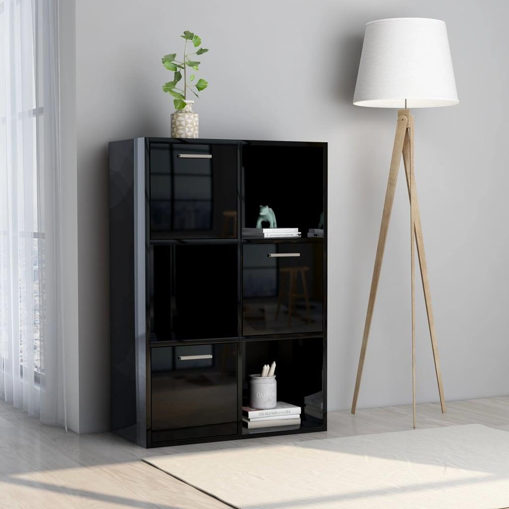 vidaXL Dulap de depozitare, negru extralucios, 60 x 29,5 x 90 cm, PAL vidaxl.ro