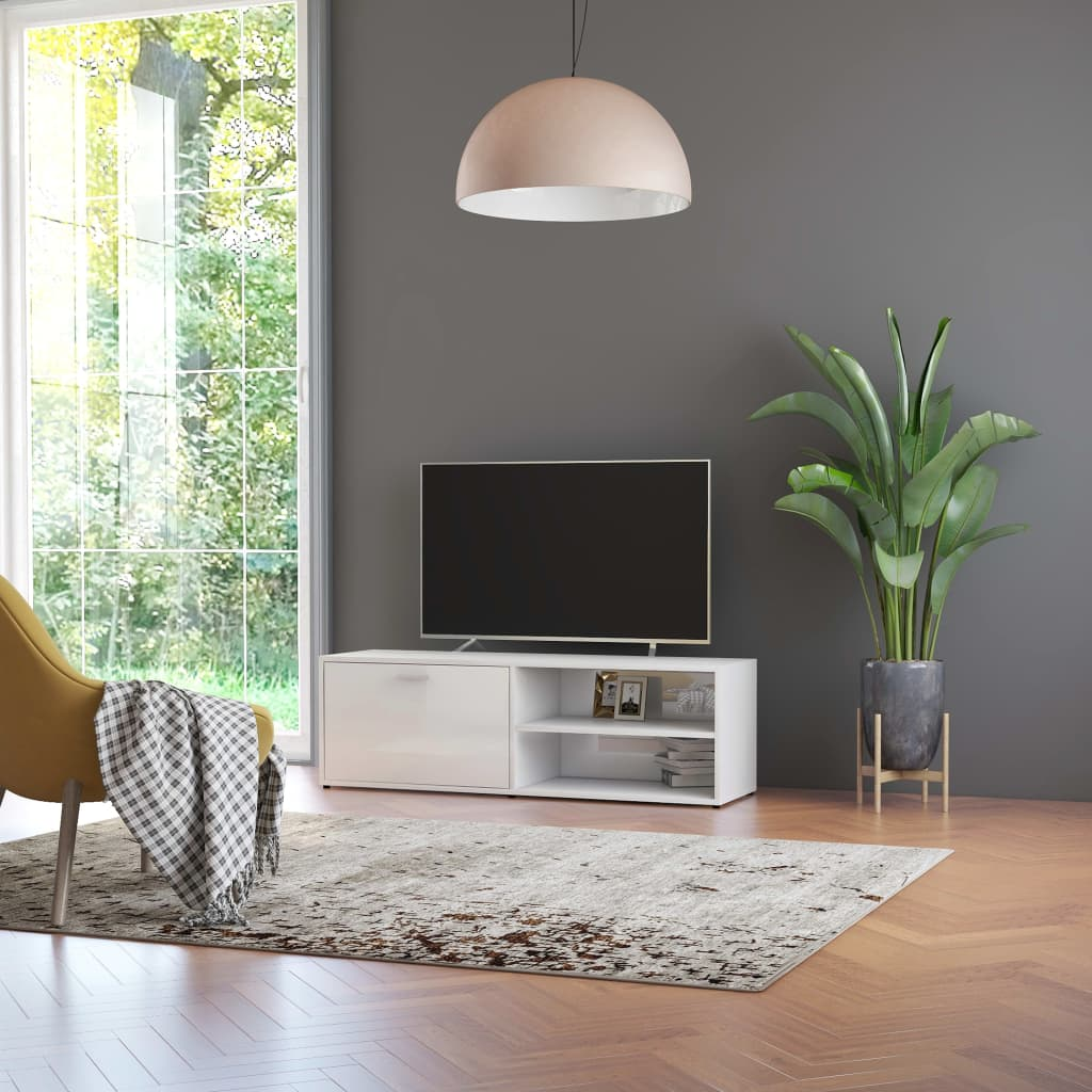 TV stolek bílý s vysokým leskem 120 x 34 x 37 cm dřevotříska