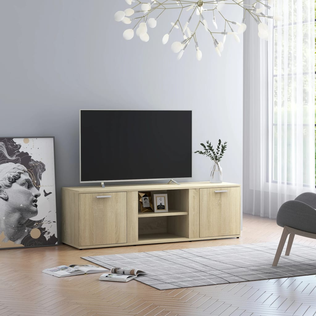 vidaXL Szafka pod TV, dąb sonoma, 120x34x37 cm, płyta wiórowa