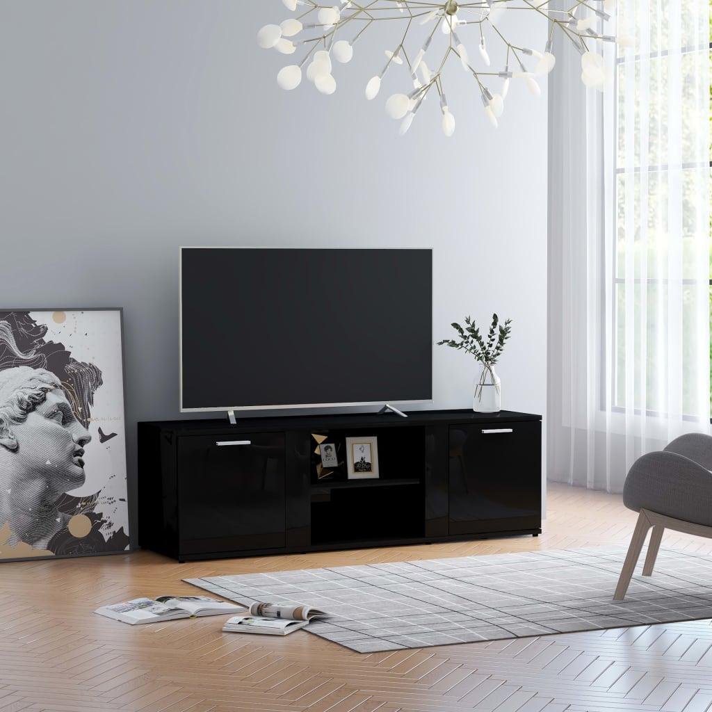 vidaXL Szafka pod TV, czarna na wysoki połysk, 120x34x37 cm