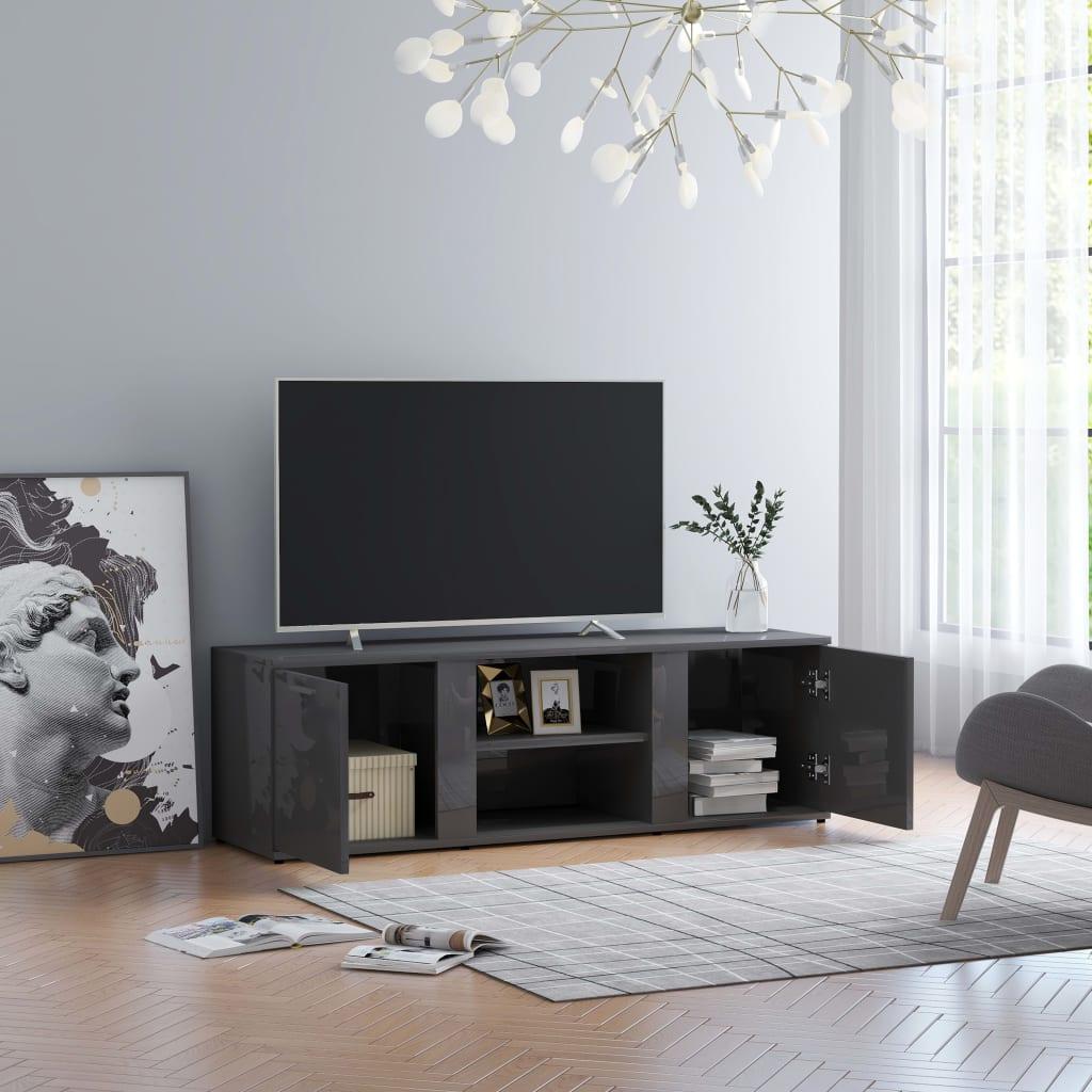 vidaXL Szafka pod TV, szara na wysoki połysk, 120x34x37 cm