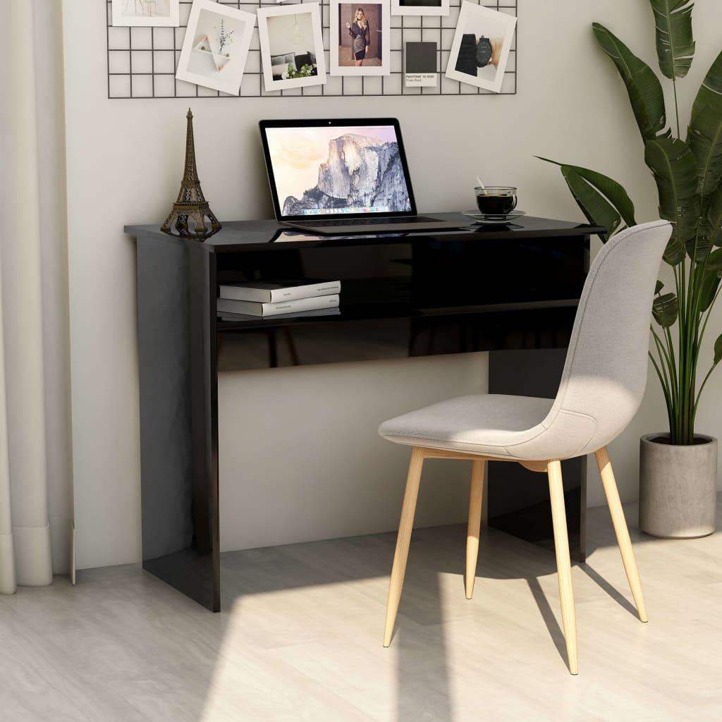 Psací stůl černý s vysokým leskem 90 x 50 x 74 cm dřevotříska