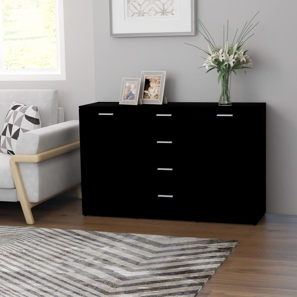 vidaXL Servantă, negru, 120 x 35,5 x 75 cm, PAL imagine vidaxl.ro