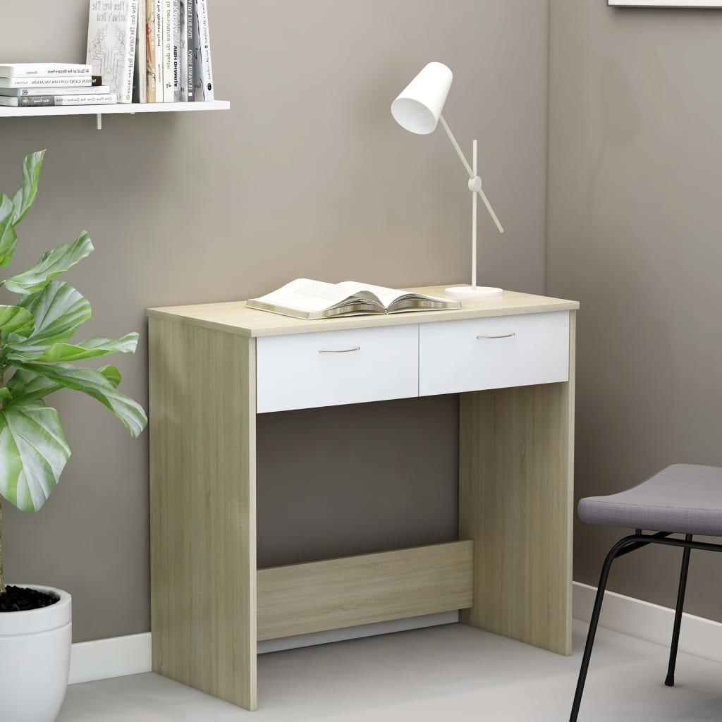 Psací stůl bílý a dub sonoma 80 x 40 x 75 cm dřevotříska