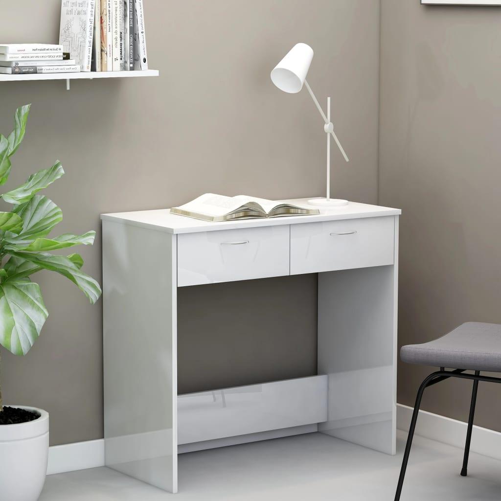 Psací stůl bílý s vysokým leskem 80 x 40 x 75 cm dřevotříska