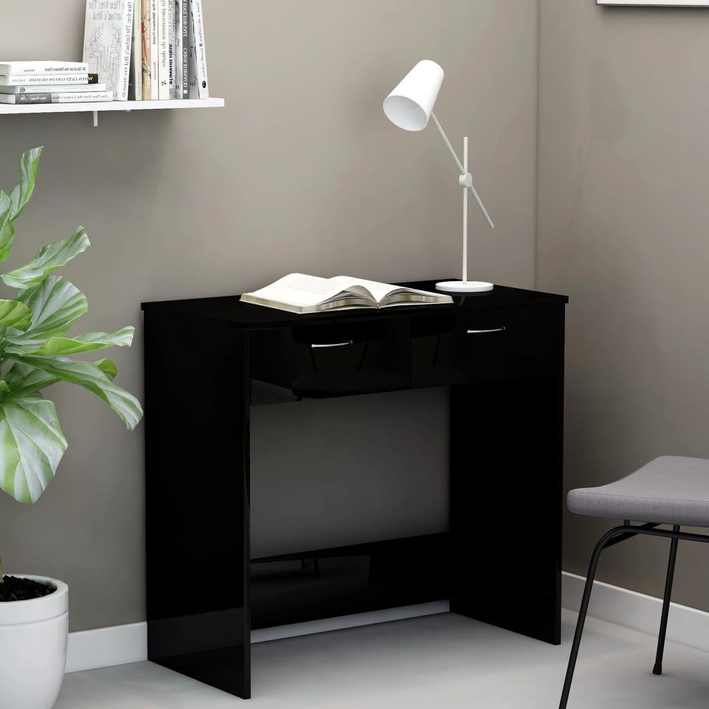 Psací stůl černý s vysokým leskem 80 x 40 x 75 cm dřevotříska