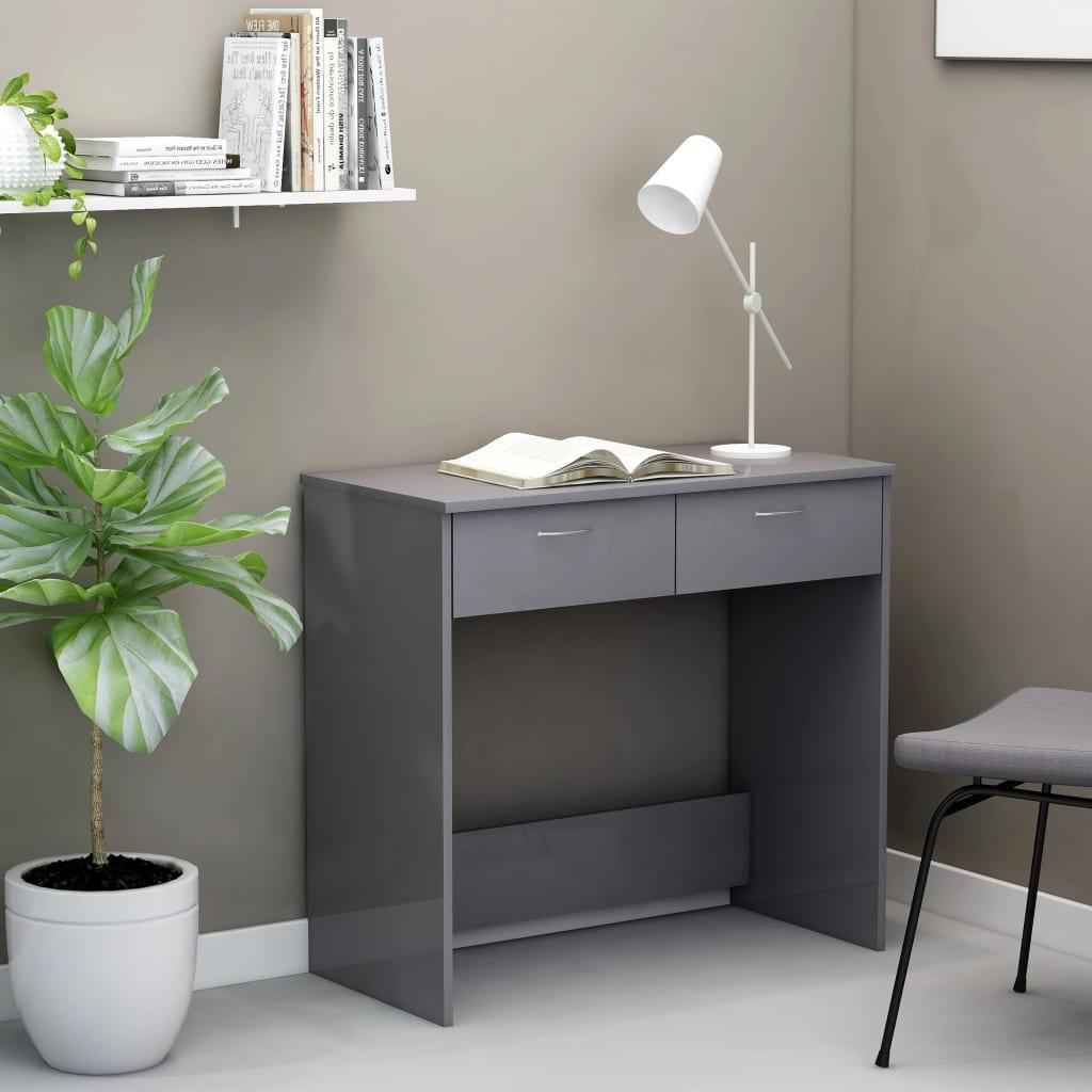 Psací stůl šedý s vysokým leskem 80 x 40 x 75 cm dřevotříska