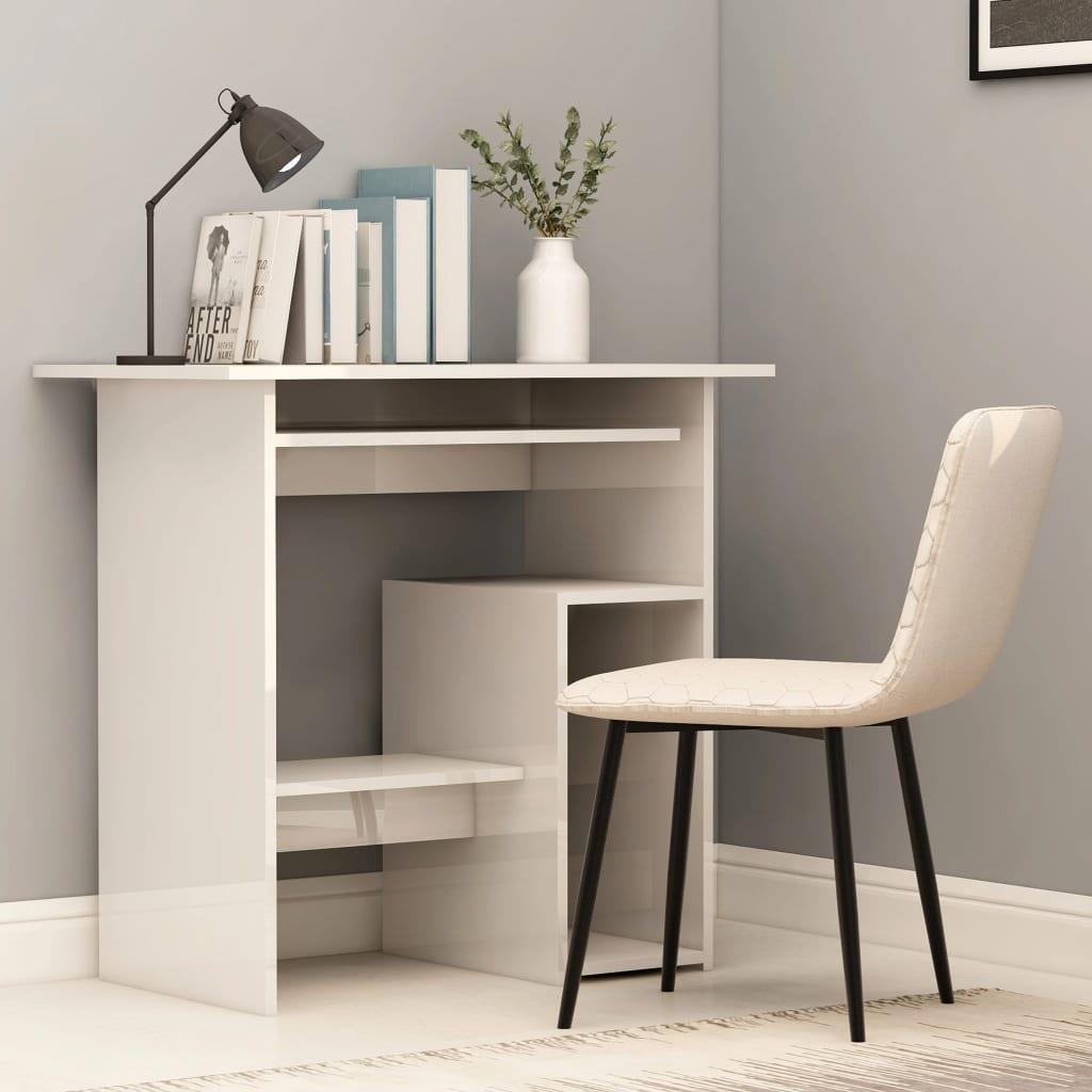 Psací stůl bílý s vysokým leskem 80 x 45 x 74 cm dřevotříska