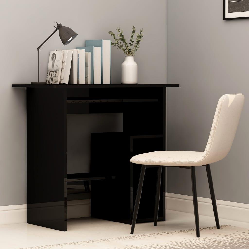 Psací stůl černý s vysokým leskem 80 x 45 x 74 cm dřevotříska