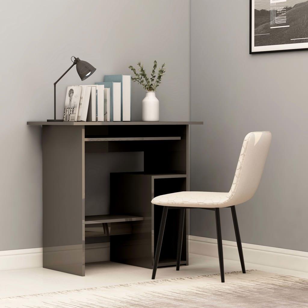 Psací stůl šedý s vysokým leskem 80 x 45 x 74 cm dřevotříska