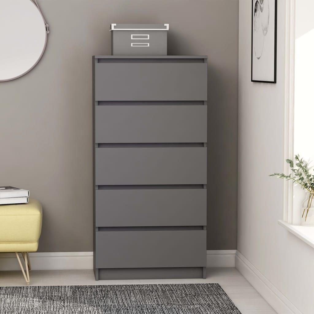 vidaZL Příborník se zásuvkami šedý 60 x 35 x 121 cm dřevotříska