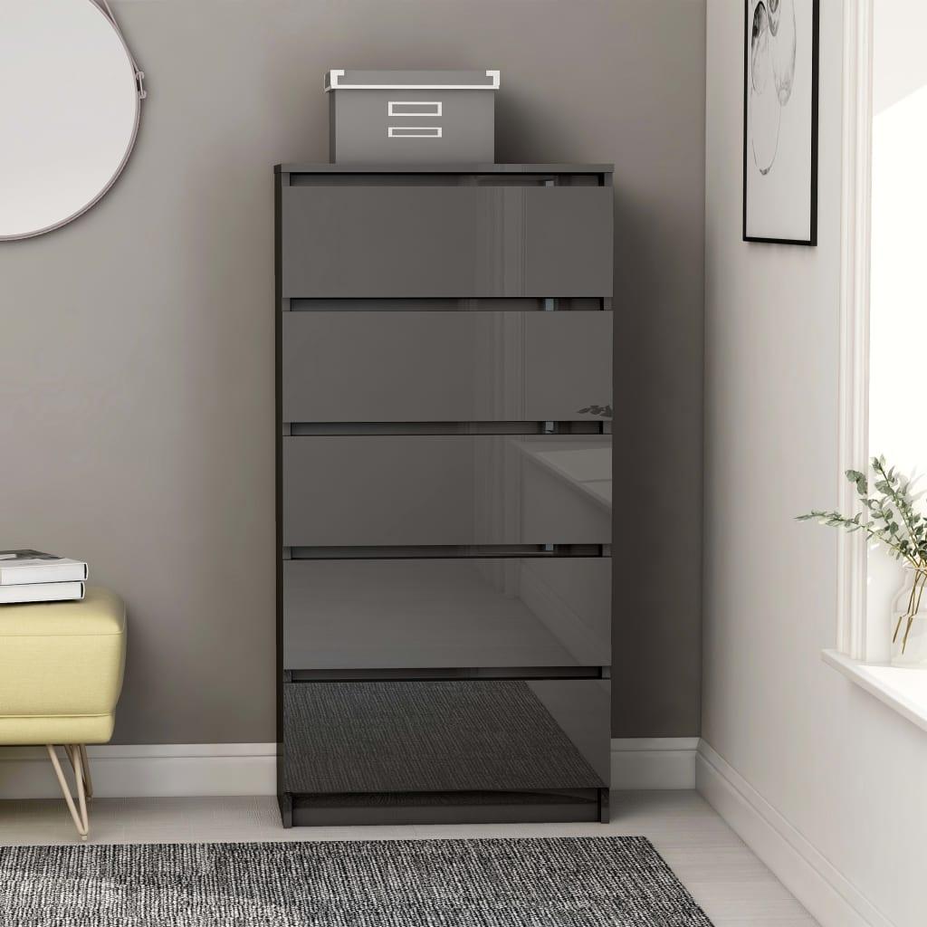 vidaXL Příborník se zásuvkami šedý vysoký lesk 60x35x121cm dřevotříska