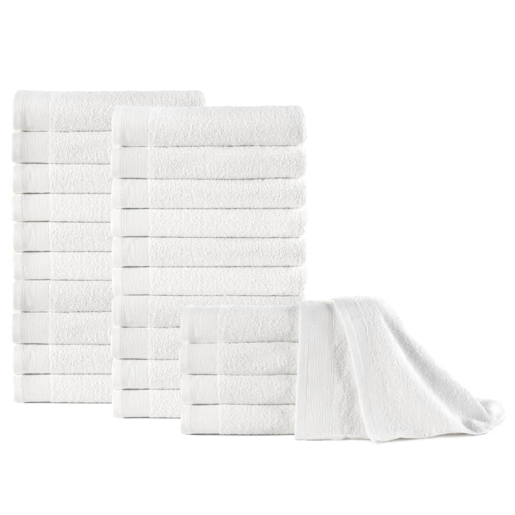 Ručníky 25 ks bavlna 350 g/m² 50 x 100 cm bílé