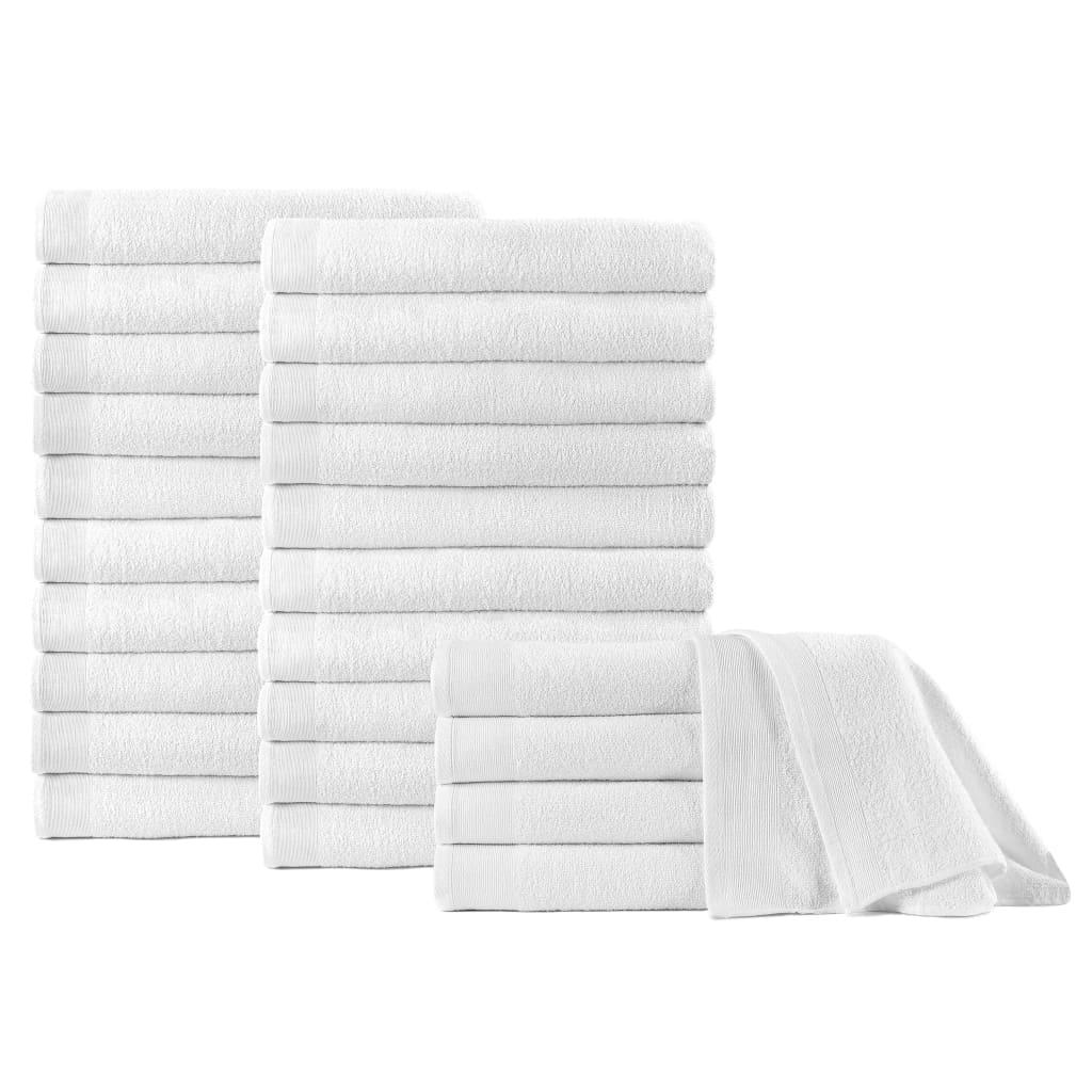 vidaXL Prosoape de duș, 25 buc., alb, 70 x 140 cm, bumbac, 450 gsm poza 2021 vidaXL