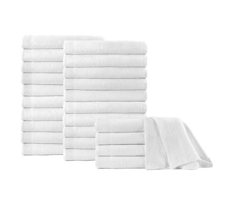 vidaXL Osušky 25 ks, bavlna 350 g/m², 70x140 cm, biele