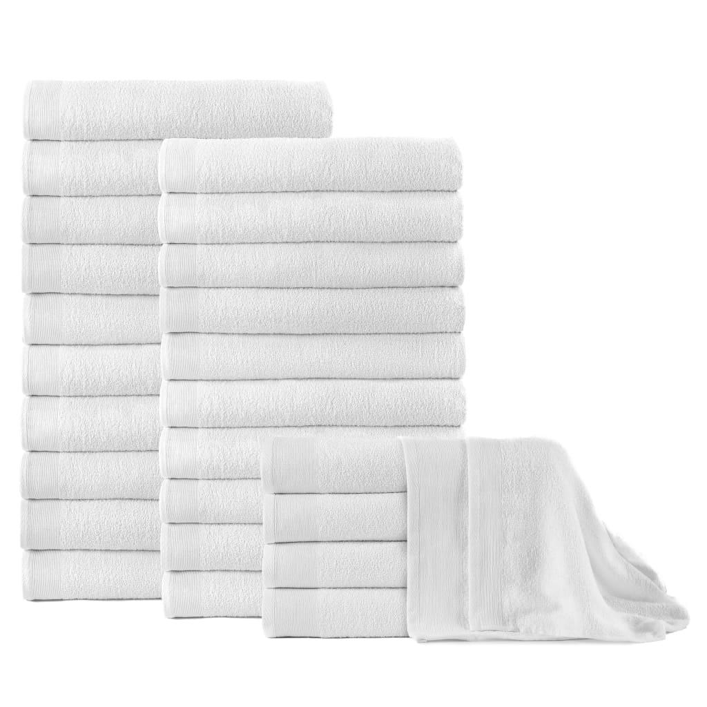 vidaXL Osušky 25 ks bavlna 350 g/m² 100 x 150 cm bílé