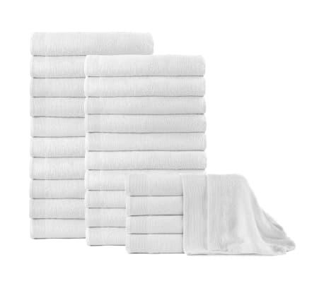 vidaXL Osušky 25 ks, bavlna 350 g/m², 100x150 cm, biele