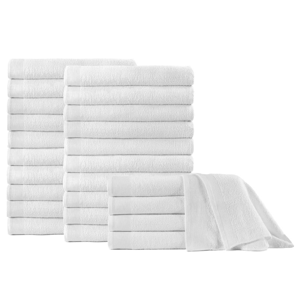 vidaXL Prosoape de saună, 25 buc., alb, 80 x 200 cm, bumbac, 350 gsm poza 2021 vidaXL
