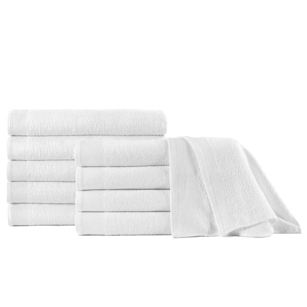 vidaXL Prosoape de duș, 10 buc., alb, 70 x 140 cm, bumbac, 350 gsm poza 2021 vidaXL