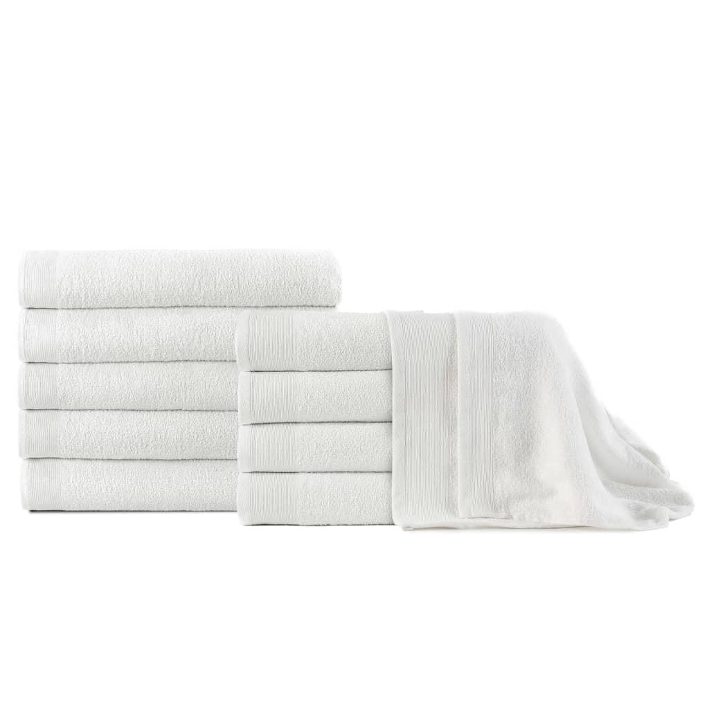 Osušky 10 ks bavlna 350 g/m² 100 x 150 cm bílé