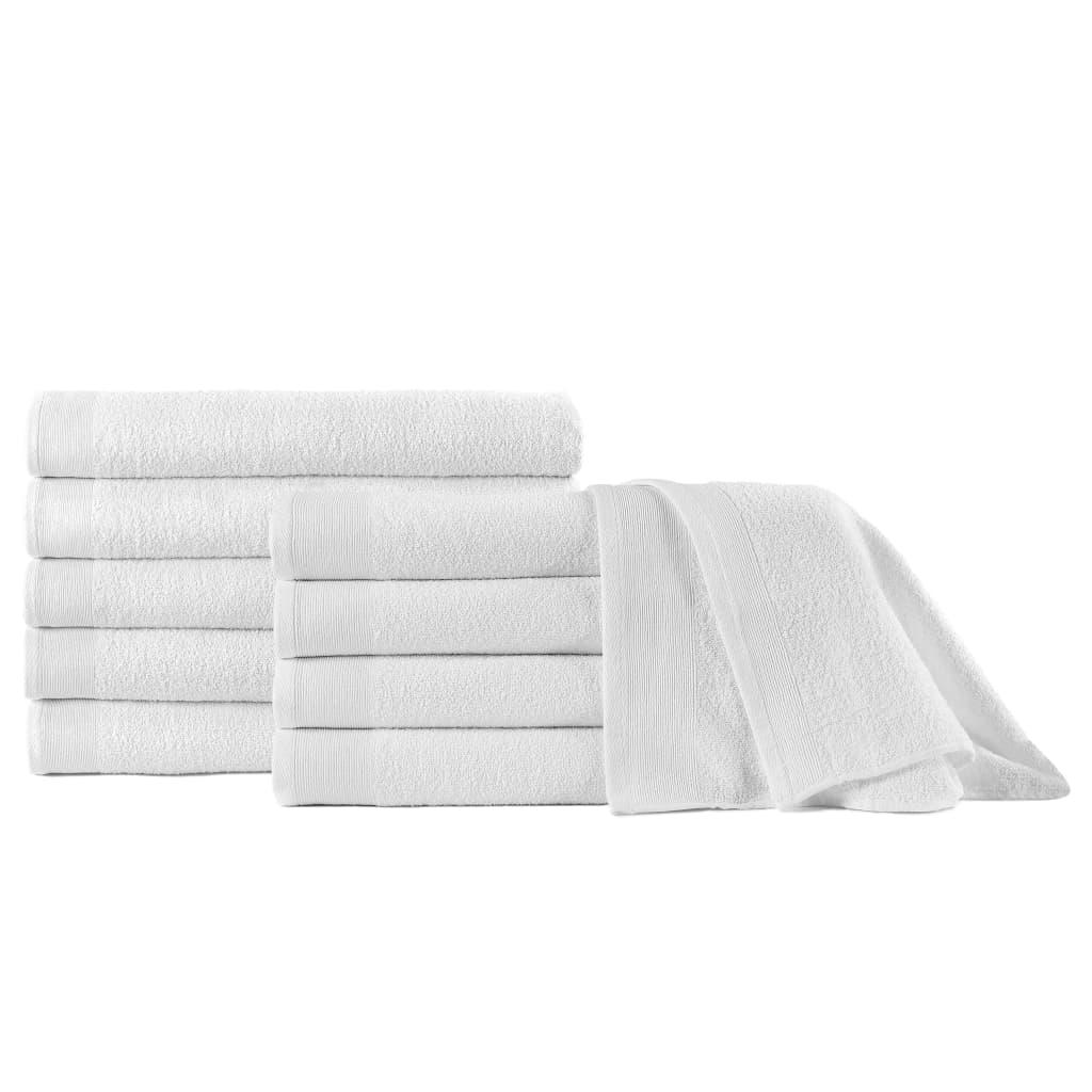 Saunové osušky 10 ks bavlna 350 g/m² 80 x 200 cm bílé