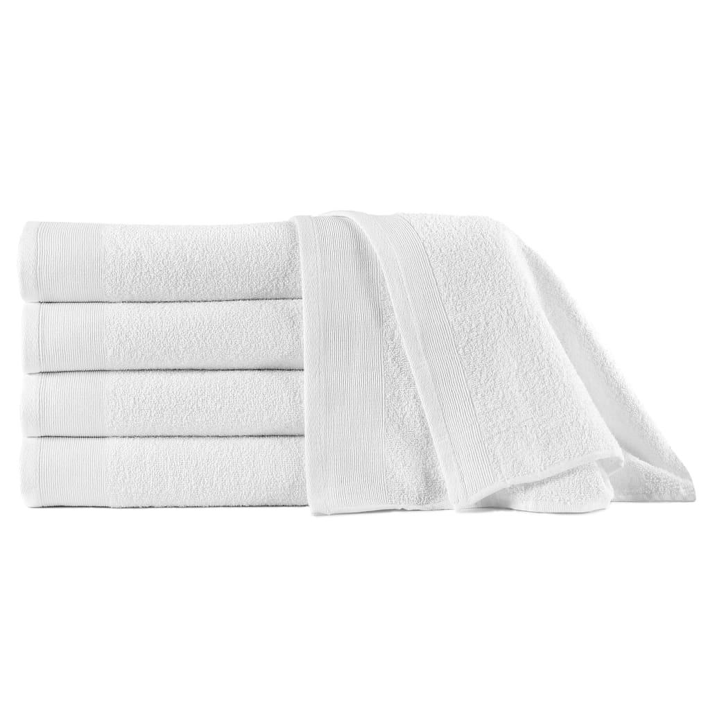 vidaXL Prosoape de duș, 5 buc., alb, 70 x 140 cm, bumbac, 450 gsm poza 2021 vidaXL