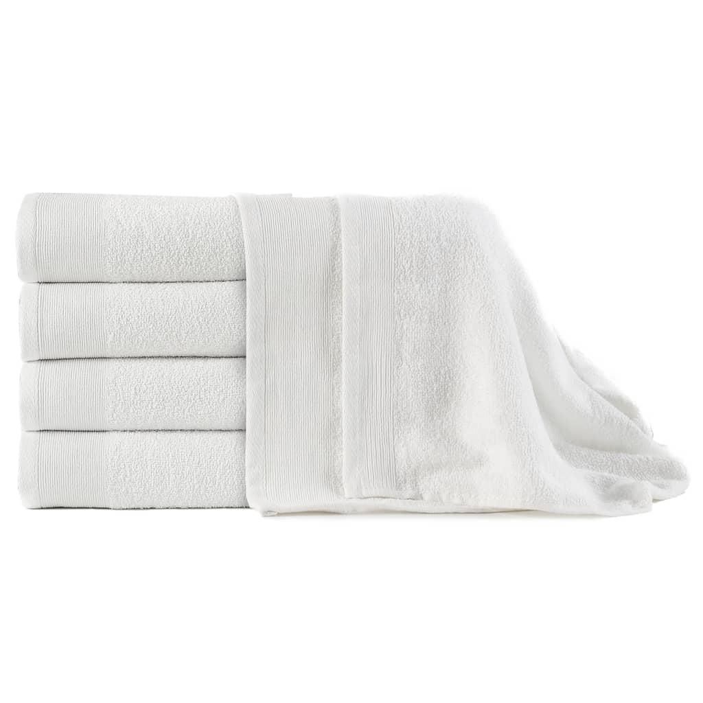vidaXL Prosoape de baie, 5 buc, alb, 100 x 150 cm, bumbac, 450 gsm poza 2021 vidaXL