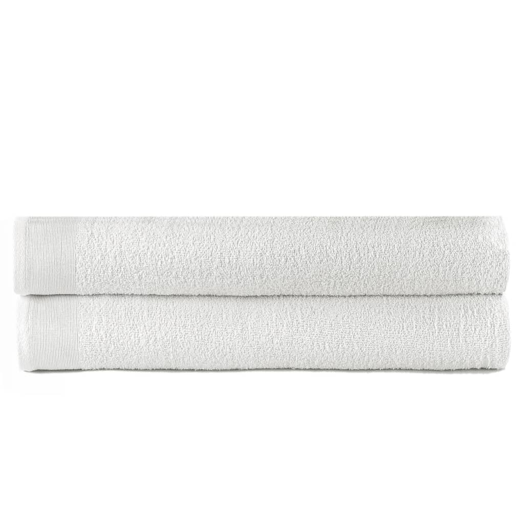 vidaXL Prosoape de baie, 2 buc., alb, 100 x 150 cm, bumbac, 450 gsm poza 2021 vidaXL