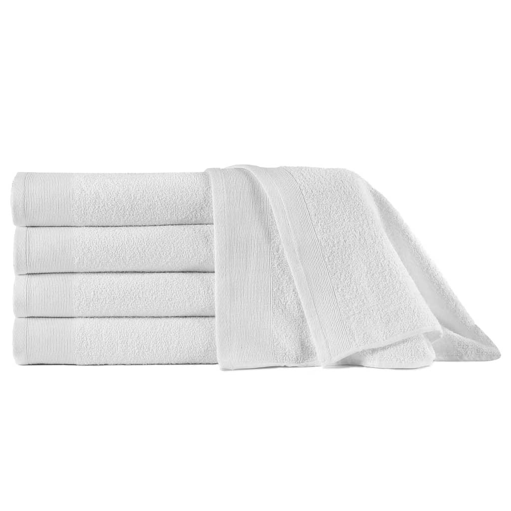 vidaXL Prosoape de saună, 5 buc., alb, 80 x 200 cm, bumbac, 450 gsm poza 2021 vidaXL