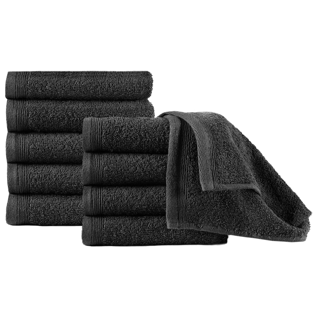 Ručníky pro hosty 10 ks bavlna 450 g/m² 30 x 50 cm černé