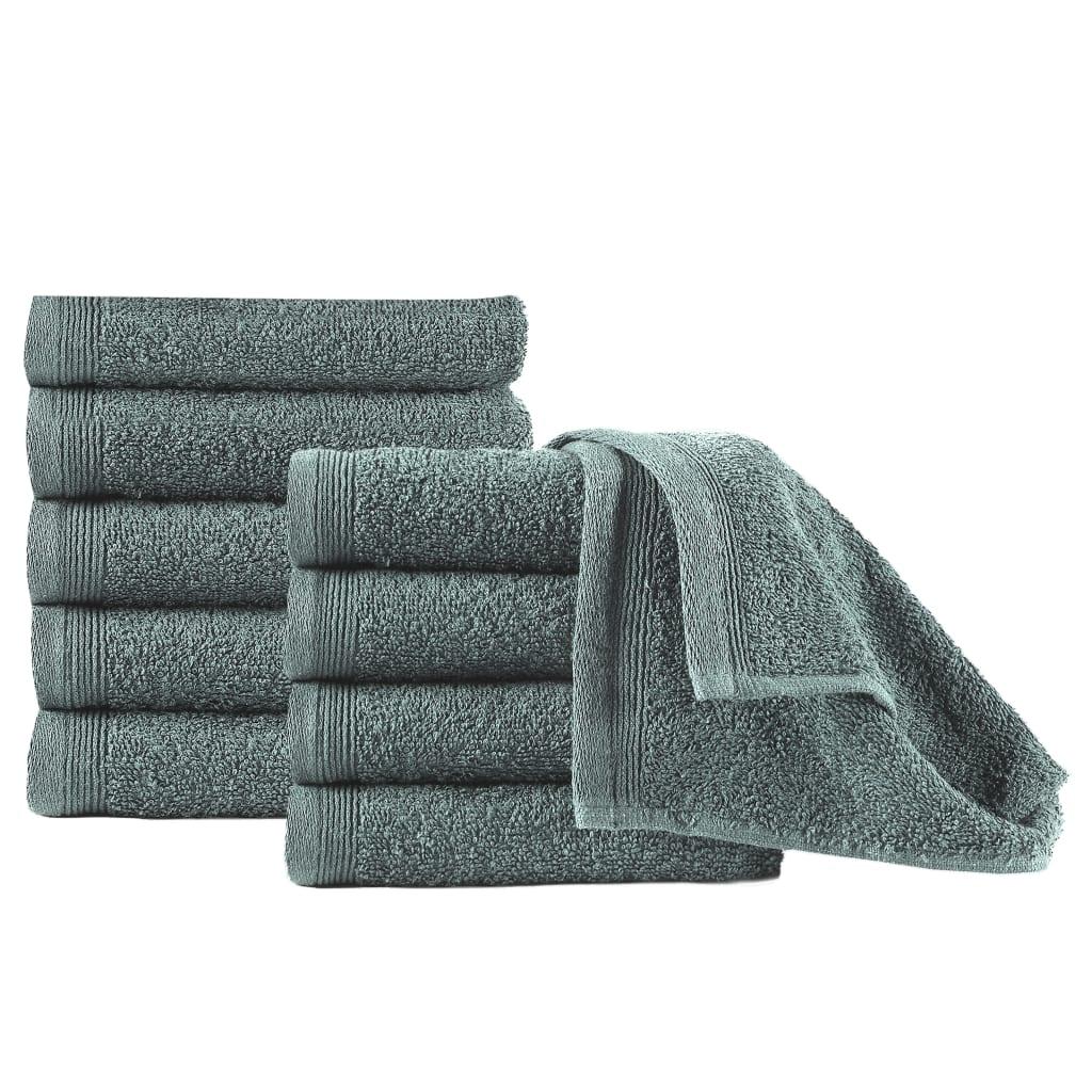 Ručníky pro hosty 10 ks bavlna 450 g/m² 30 x 50 cm zelené