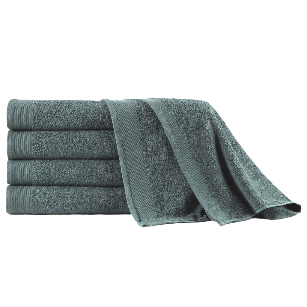 vidaXL Prosoape de saună, 5 buc., verde, 80 x 200 cm, bumbac, 450 gsm poza 2021 vidaXL
