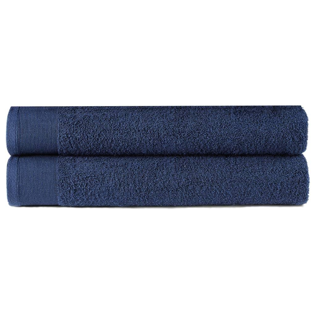 vidaXL Prosoape de duș, 2 buc., bleumarin, 70x140 cm, bumbac, 450 gsm poza 2021 vidaXL