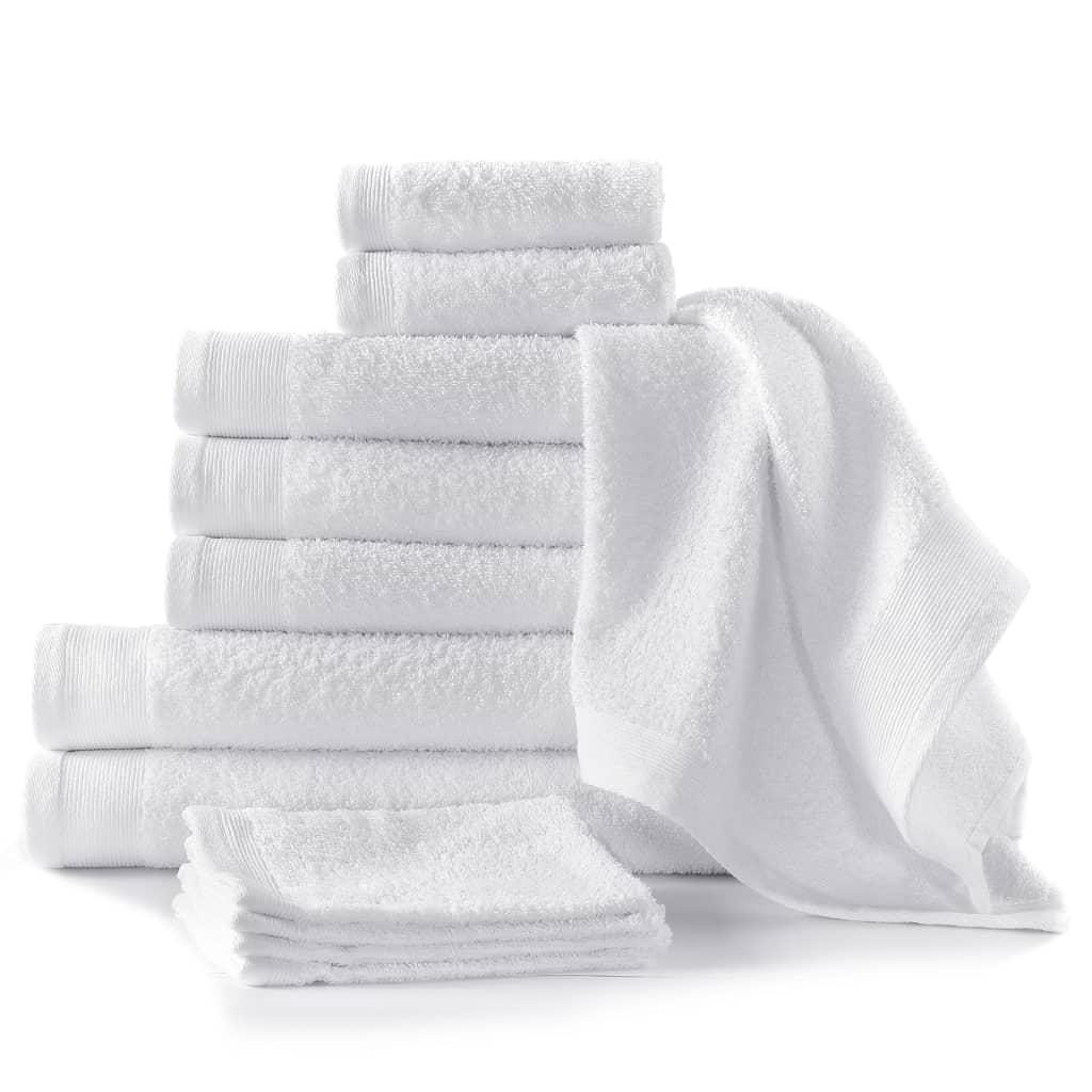 12dílná sada ručníků a osušek bavlna 450 g/m² bílá