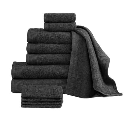 vidaXL 12-dielna sada uterákov, bavlna 450 g/m², čierne