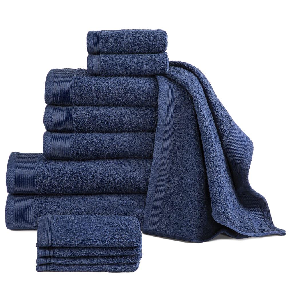 12dílná sada ručníků a osušek bavlna 450 g/m² námořnická modrá
