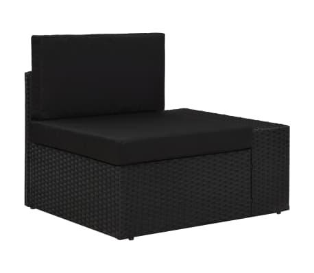 vidaXL Sectional Corner Sofa with Left Armrest Poly Rattan Black