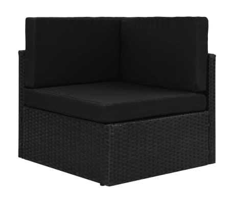 vidaXL Sectional Corner Sofa Poly Rattan Black