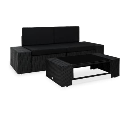 vidaXL 3 Piece Garden Lounge Set Poly Rattan Black