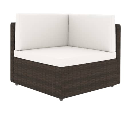 vidaXL Sectional Corner Sofa Poly Rattan Brown