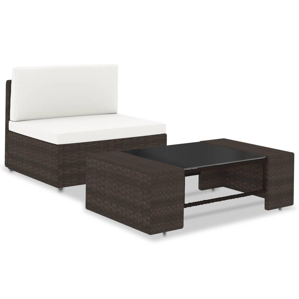 vidaXL Set mobilier de grădină, 2 piese, maro, poliratan vidaxl.ro