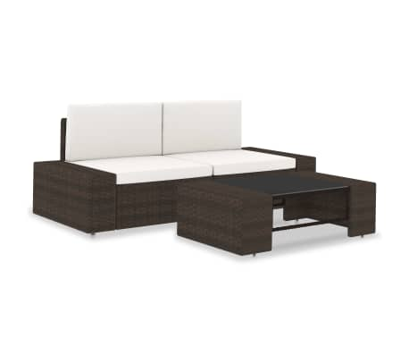 vidaXL 3 Piece Garden Lounge Set Poly Rattan Brown