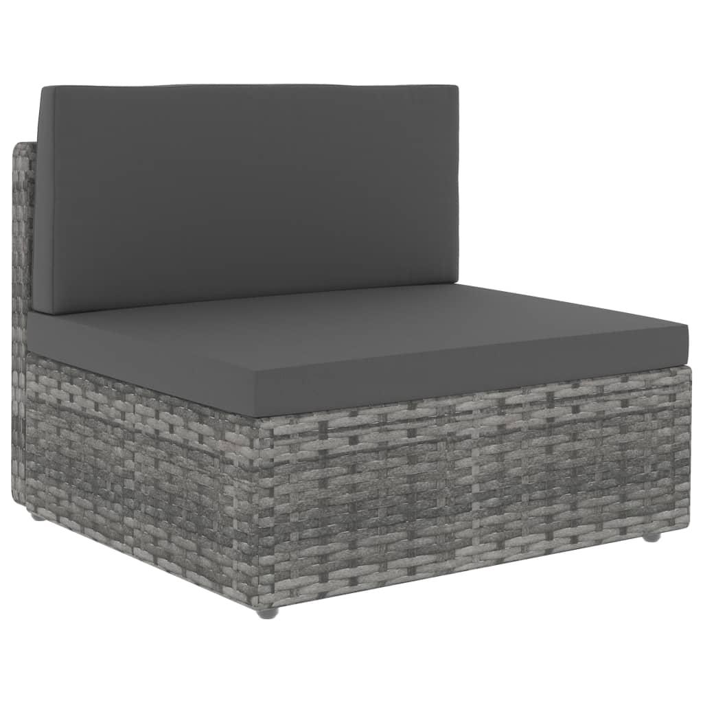 vidaXL Canapea de mijloc modulară, gri, poliratan vidaxl.ro