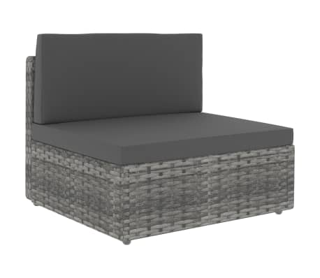 vidaXL Sectional Middle Sofa Poly Rattan Grey